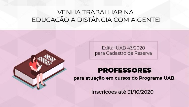Edital para cadastro de reserva de professores para atuação em cursos do Programa UAB